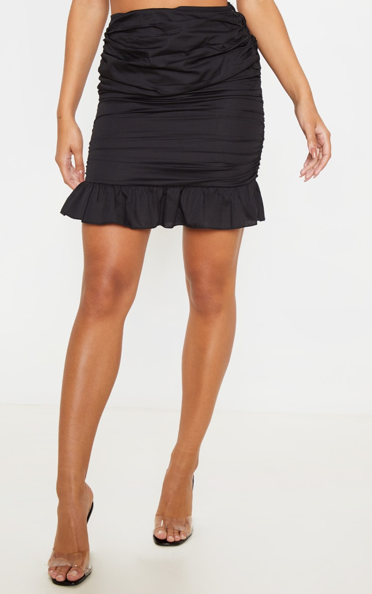 Black Woven Ruched Frill Hem Mini Skirt  2