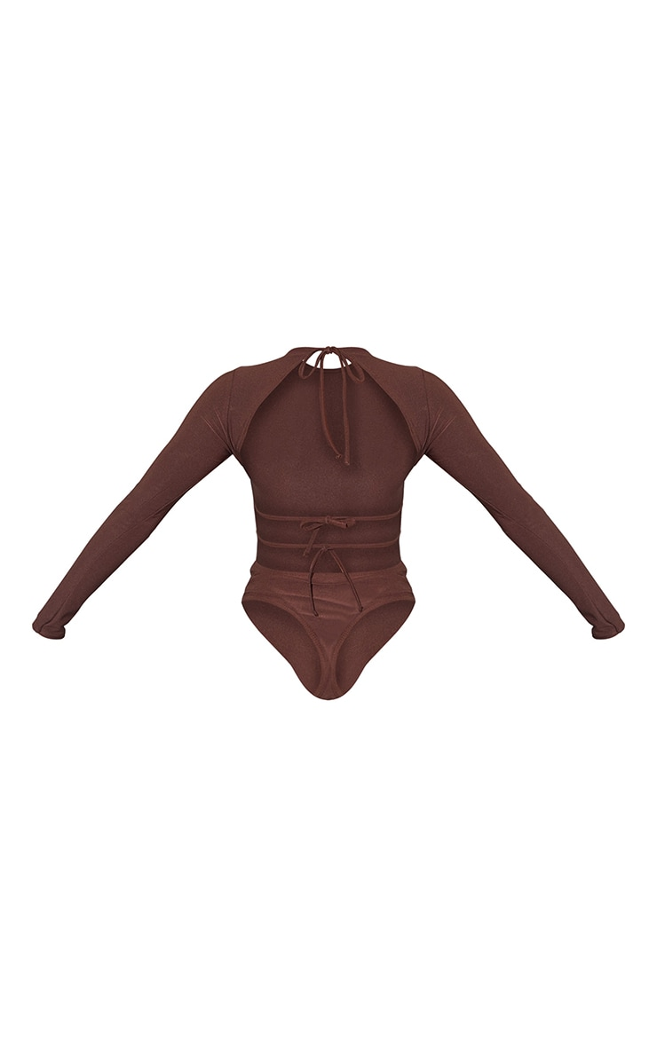 Chocolate Slinky Long Sleeve Back Tie Detail Bodysuit 6