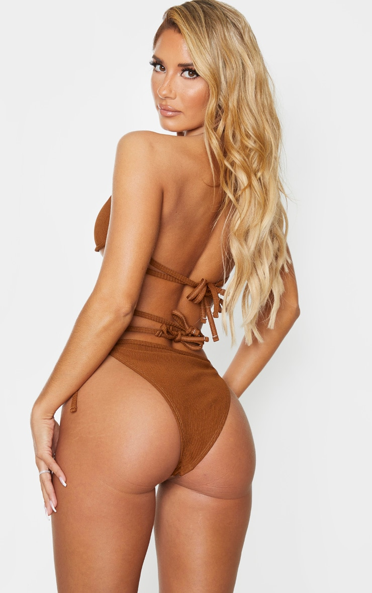 Brown Underwired Ribbed Ring Bikini Top 2