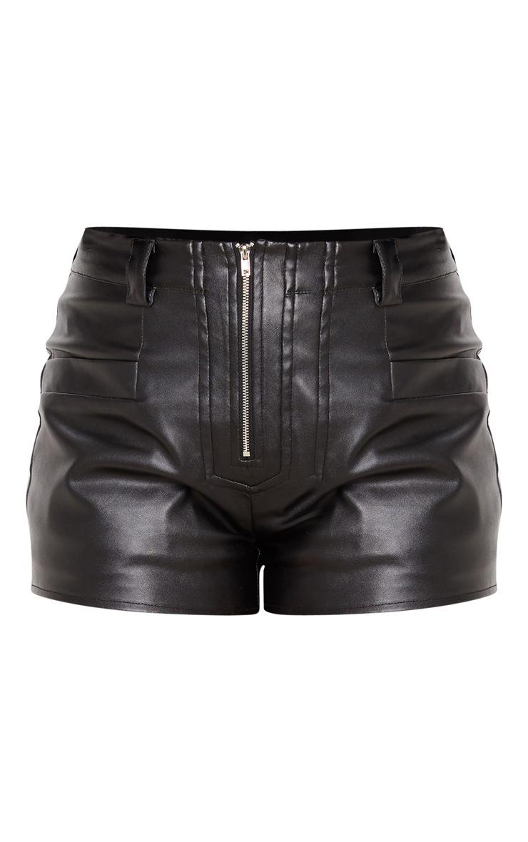 Black Faux Leather Zip Front Short 3