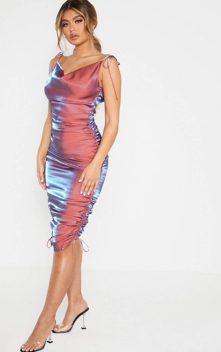 Pink Metallic Shimmer Cowl Neck Tie Strap Midi Dress 3