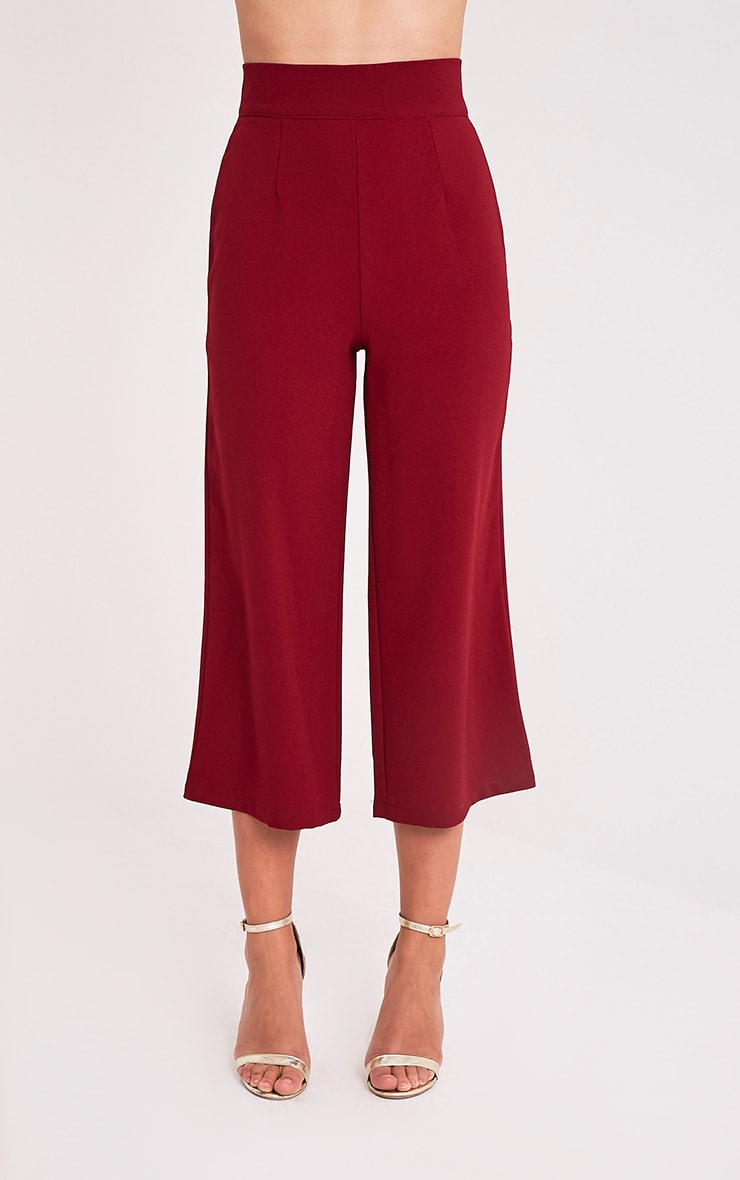 Tazmin Burgundy High Waisted Culottes 2