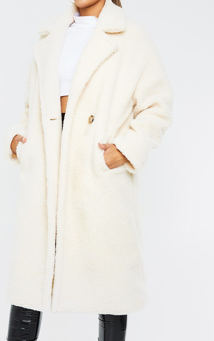 White Borg Lapel Drop Arm Maxi Coat 4