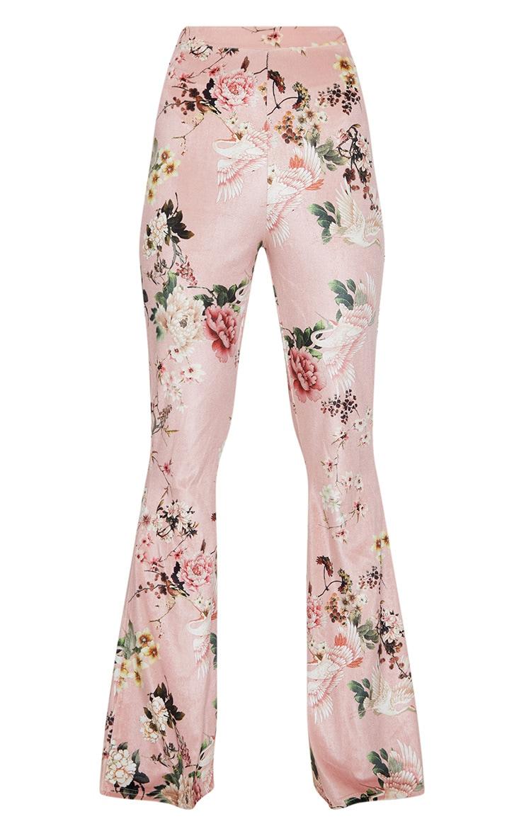 Petite - Pantalon flare en velours nude à imprimé floral 3