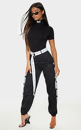 PRETTYLITTLETHING Black Graphic High Neck Short Sleeve Bodysuit 4
