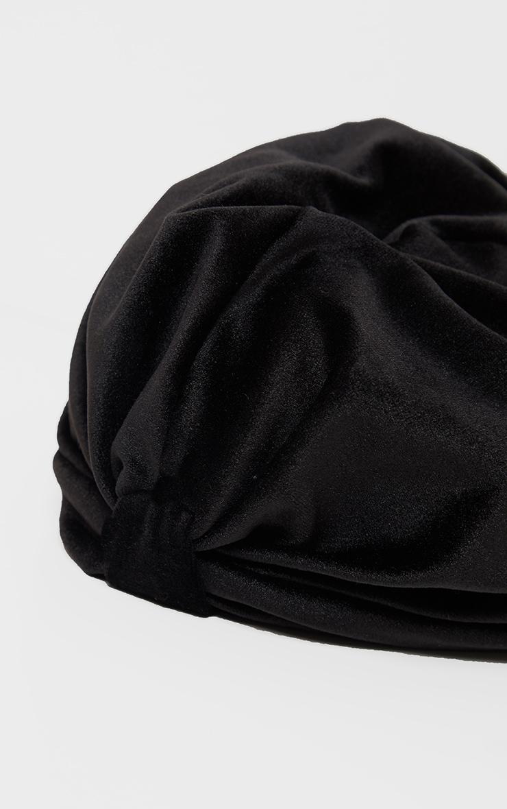 Turban noir noué en velours  2