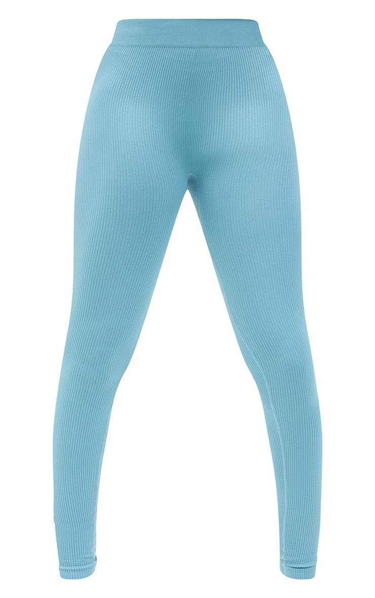 Tall Mineral Blue Structured Contour Ribbed Leggings 5
