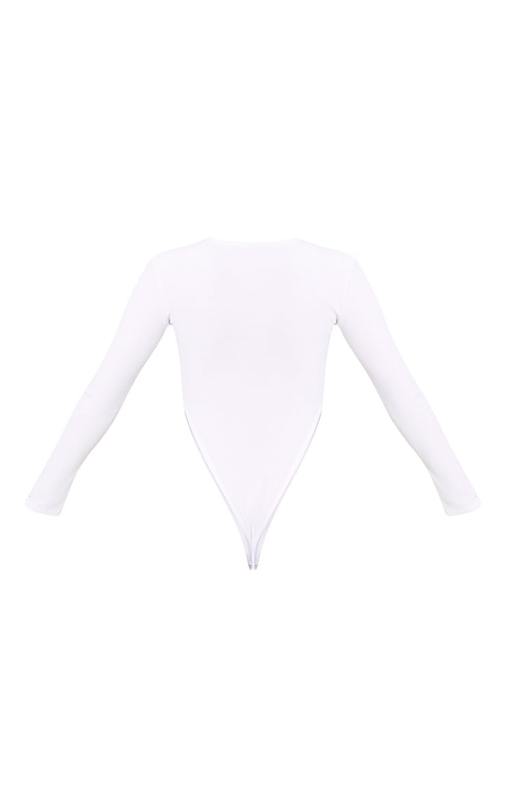 Doll Slogan White Jersey Rib High Rise Thong Bodysuit 4