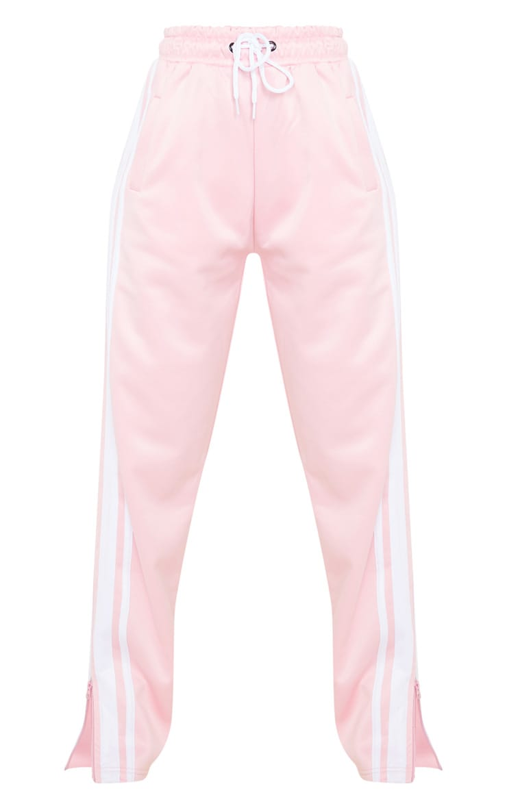 Baby Pink Zip Side Stripe Wide Leg Joggers 5