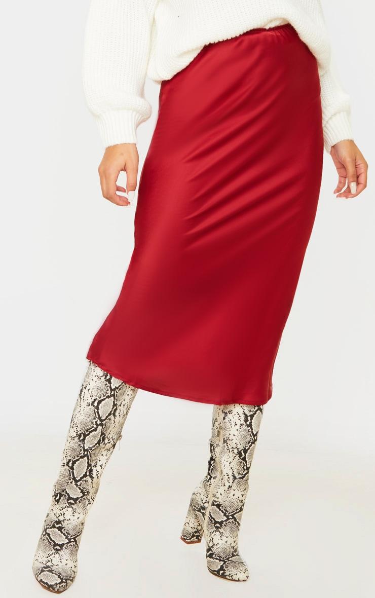 Burgundy Satin Midi Skirt 2