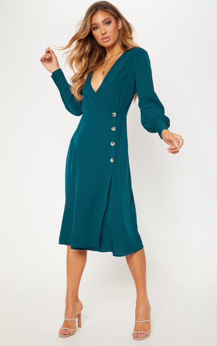 Emerald Green Tortoise Shell Button Midi Tea Dress