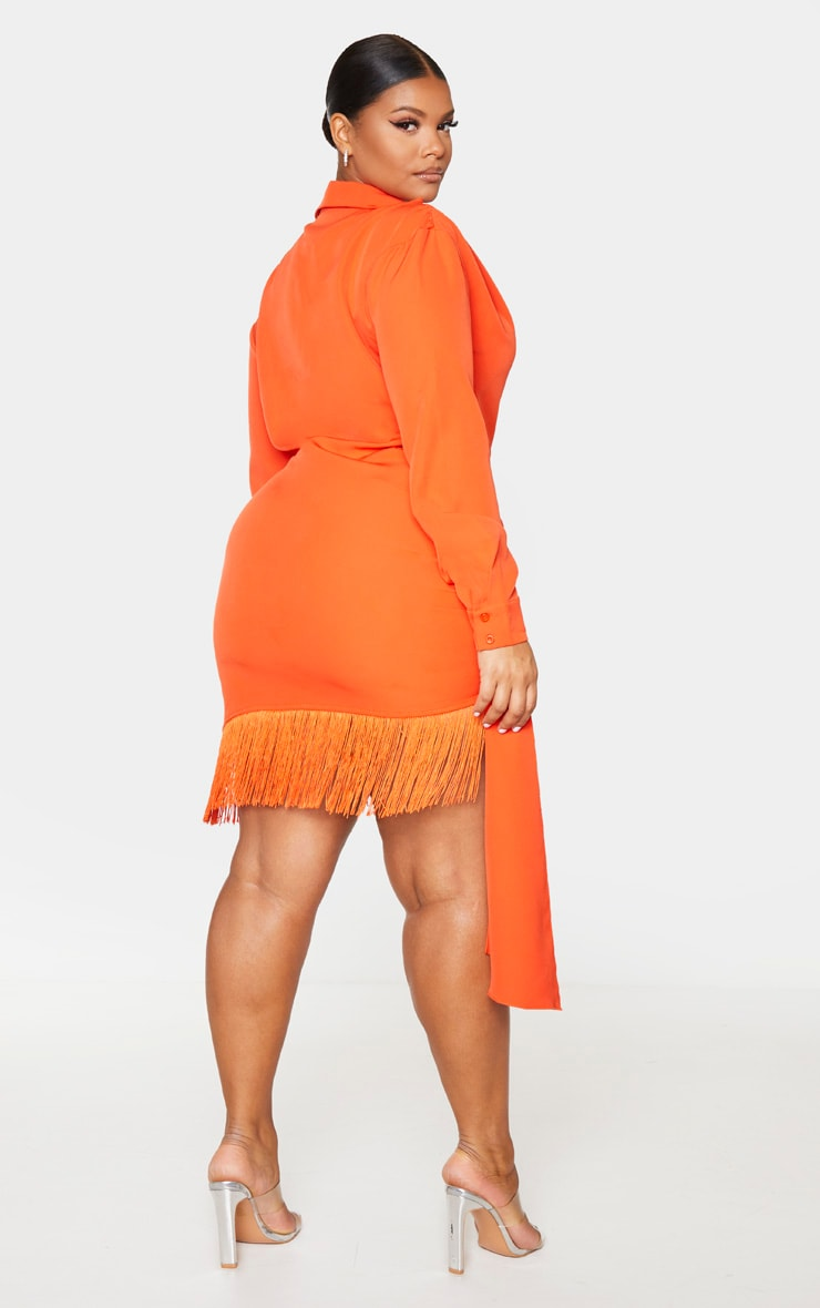 Plus Orange Long Sleeve Tassel Hem Drape Detail Bodycon Dress 2