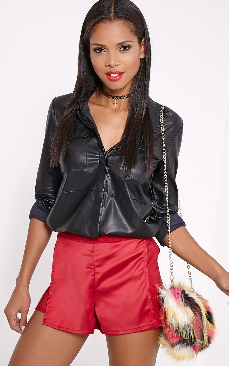 Bebe Red Panel Tailored Shorts 1