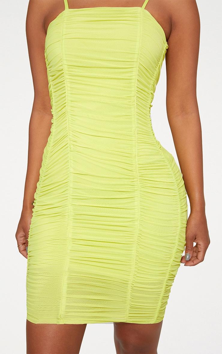 Shape Lime Ruched Mesh Bodycon Mini Dress 4