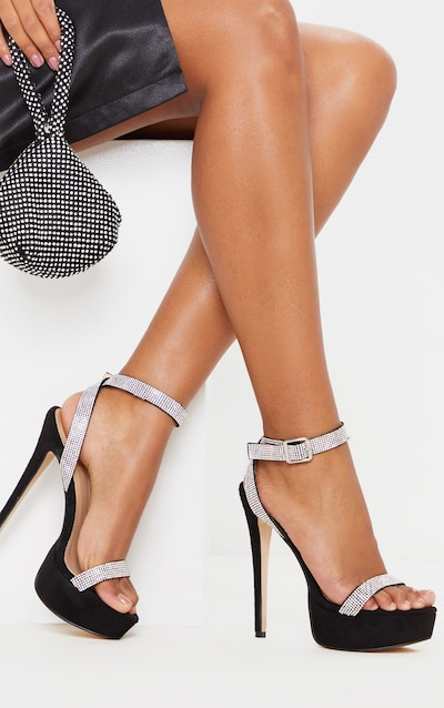 Black Diamante Platform Strappy Sandal