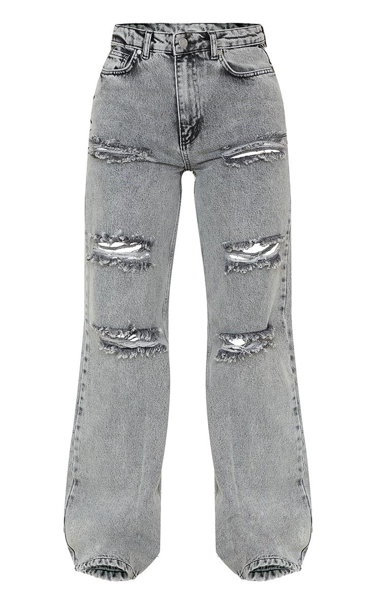 Grey Acid Wash Distressed Wide Leg Jeans 5