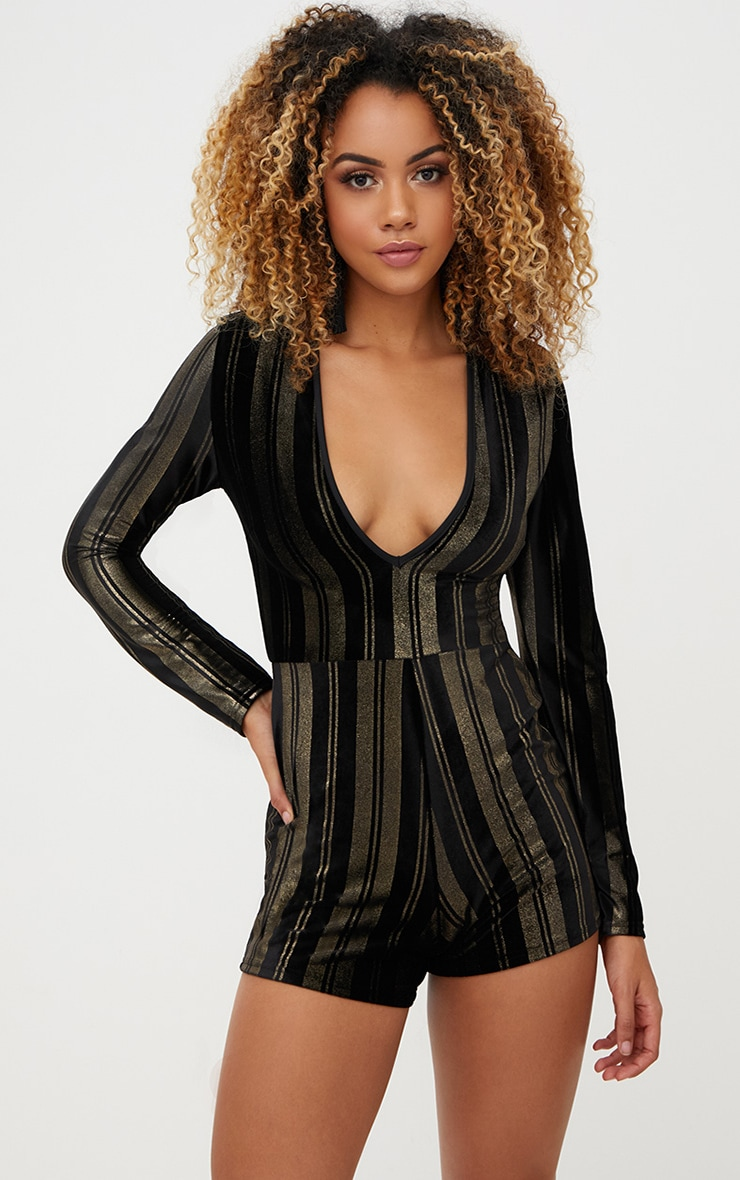 Black Velvet Gold Stripe Plunge Playsuit 1