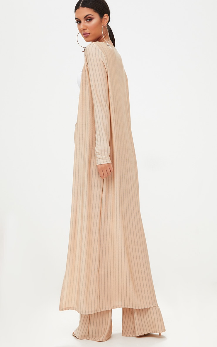 Nude Glitter Stripe Duster Coat  2