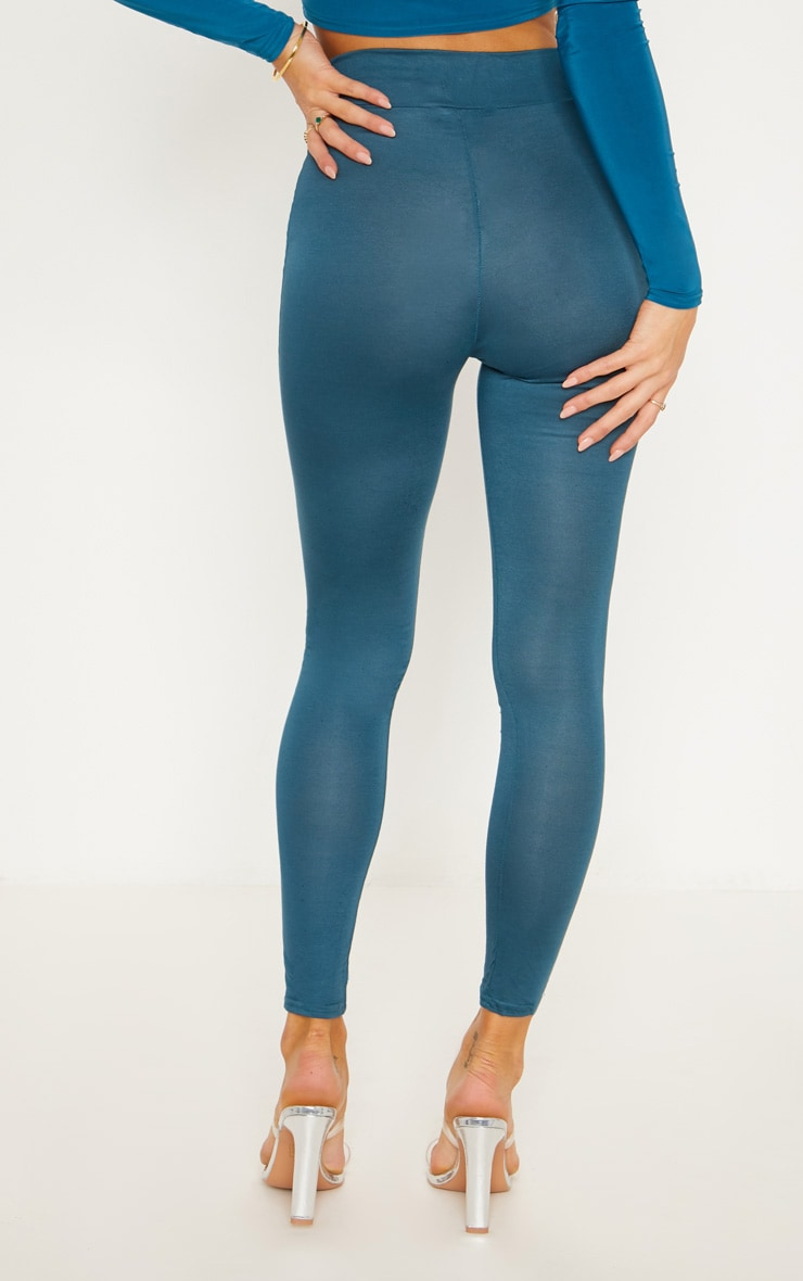 Dark Teal High Waisted Jersey Leggings 4