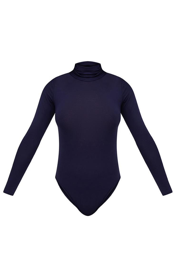 Basic Navy Roll Neck Long Sleeve Bodysuit 3