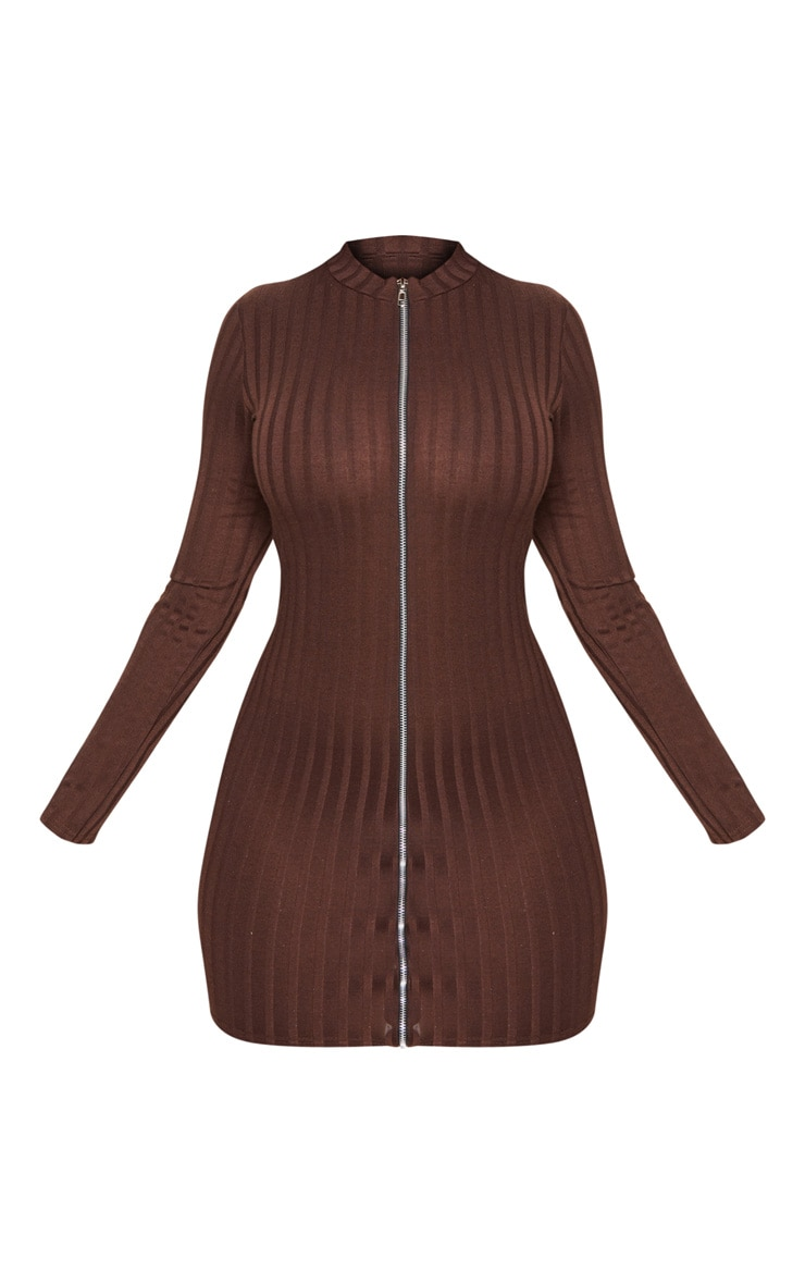 Shape Chocolate Brown Ribbed Zip Front Bodycon Dress 3