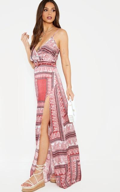 ee8527c28f6c Pink Paisley Print Maxi Split Cami Dress