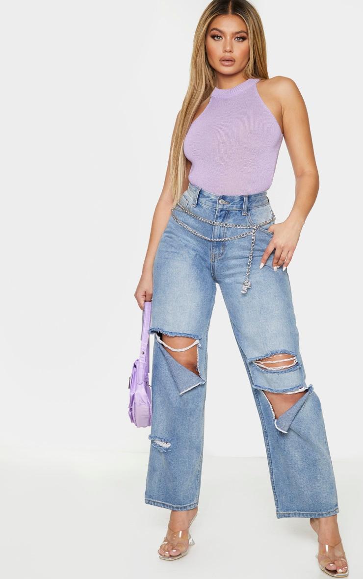 Lilac Rib Round Neck Vest 3