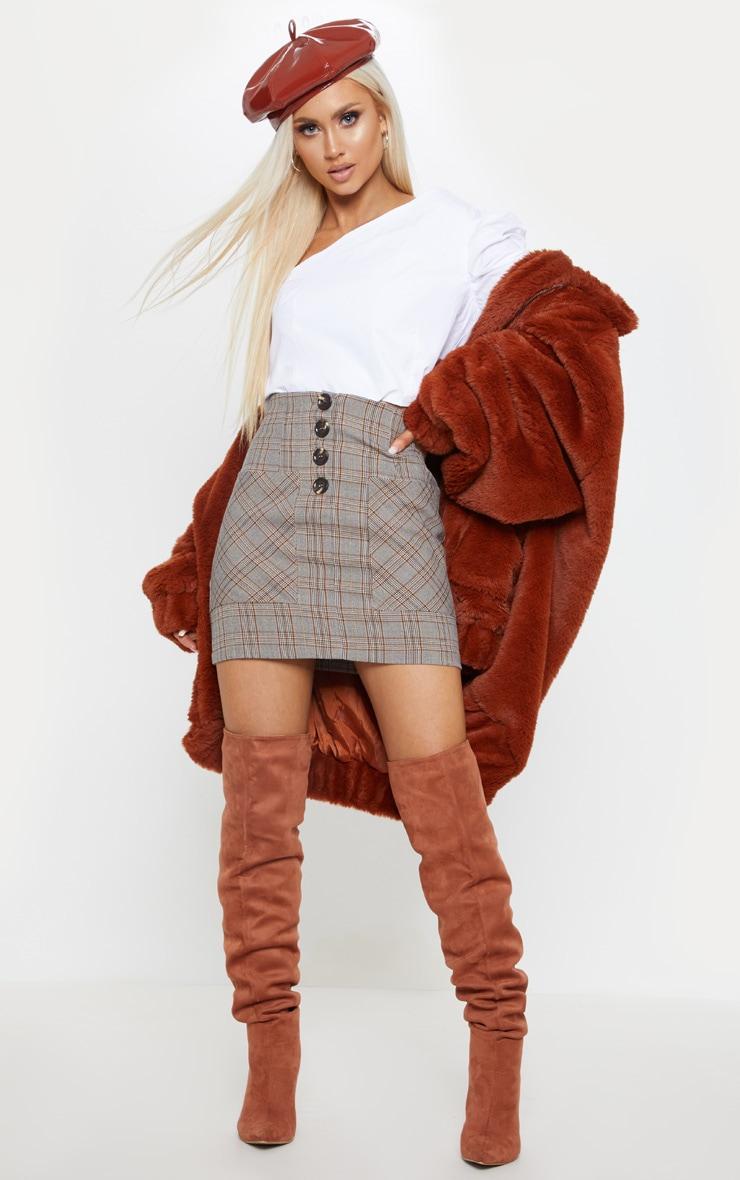 Brown Check Button Mini Skirt  1