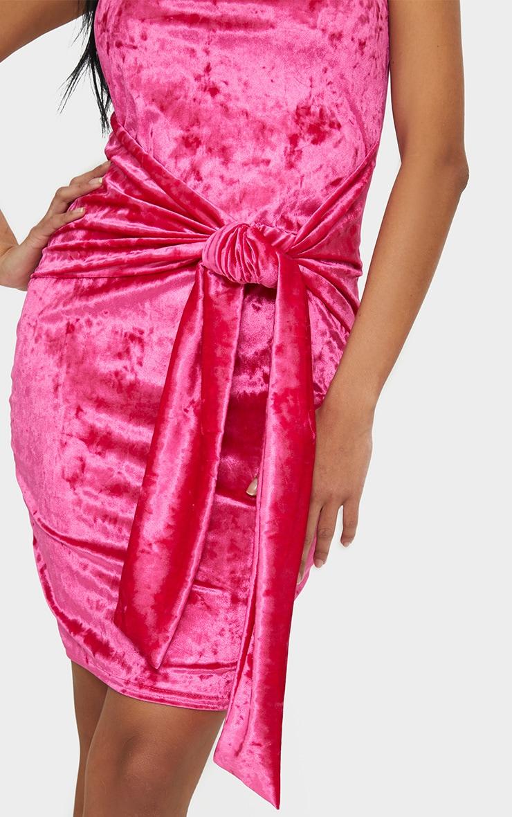 Fuchsia Velvet Bandeau Tie Front Bodycon Dress 5