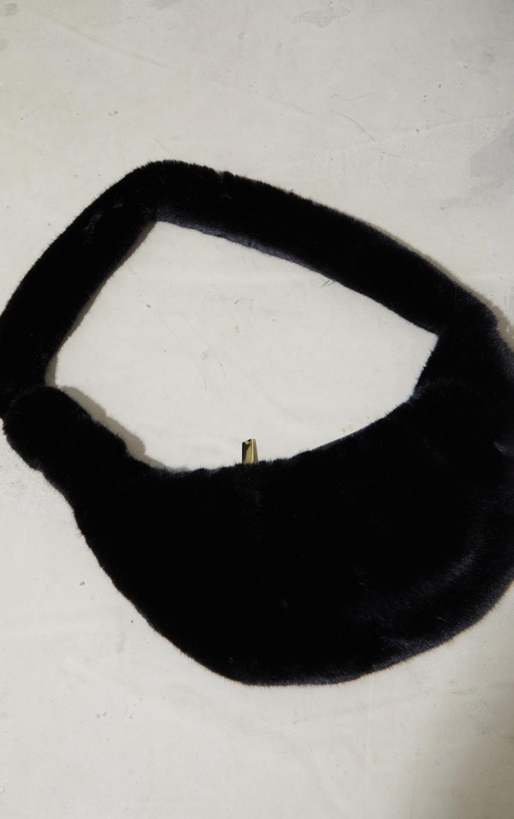 Black Faux Fur Cross Body Bag 2