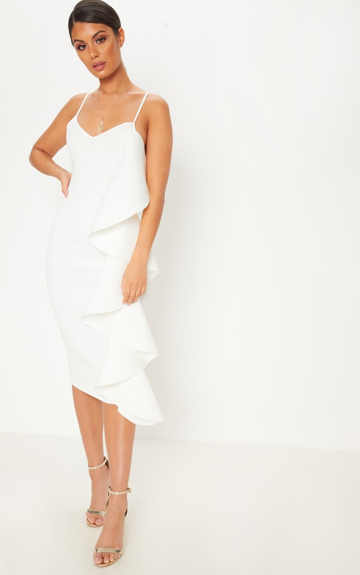 White Bonded Scuba Ruffle Side Strappy Midi Dress