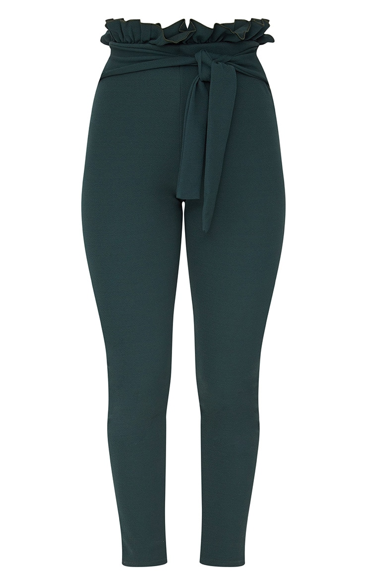 Emerald Green Paperbag Skinny Trousers 3