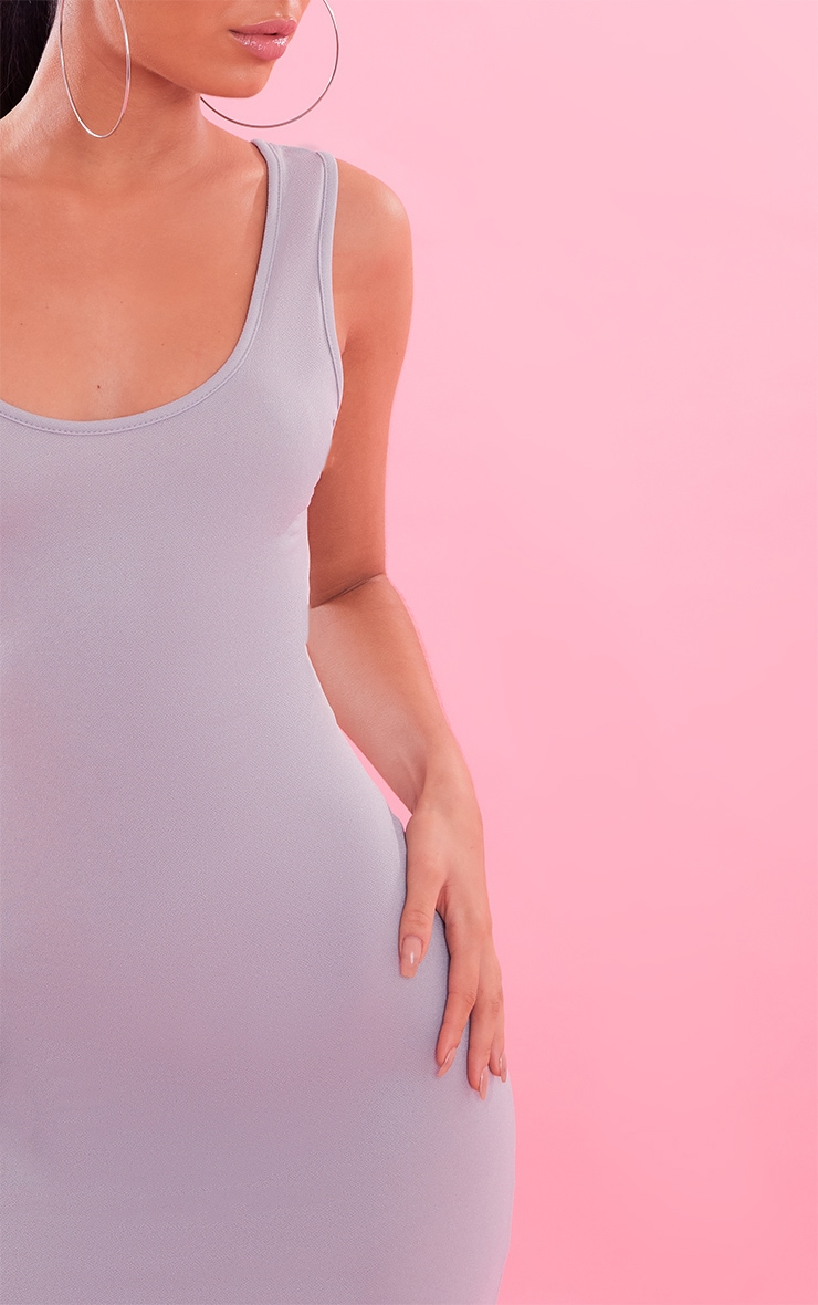 Basic Dove Grey Crepe Scoop Back Bodycon Dress 6