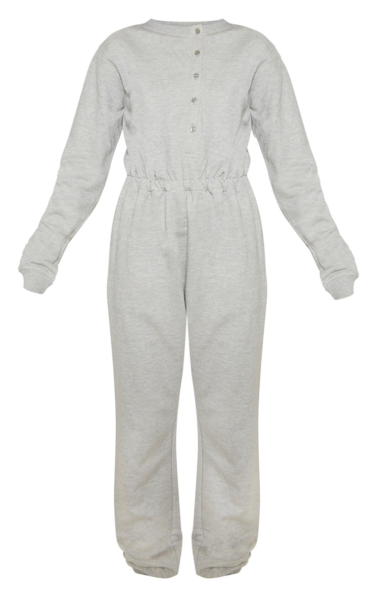 Grey Button Up Loop Back Jumpsuit 3
