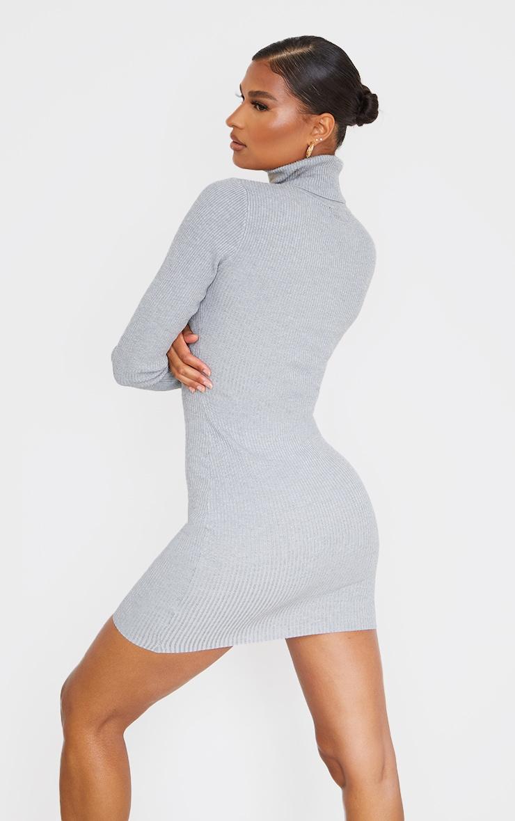 PRETTYLITTLETHING Grey Rib Knitted Bodycon Dress 3