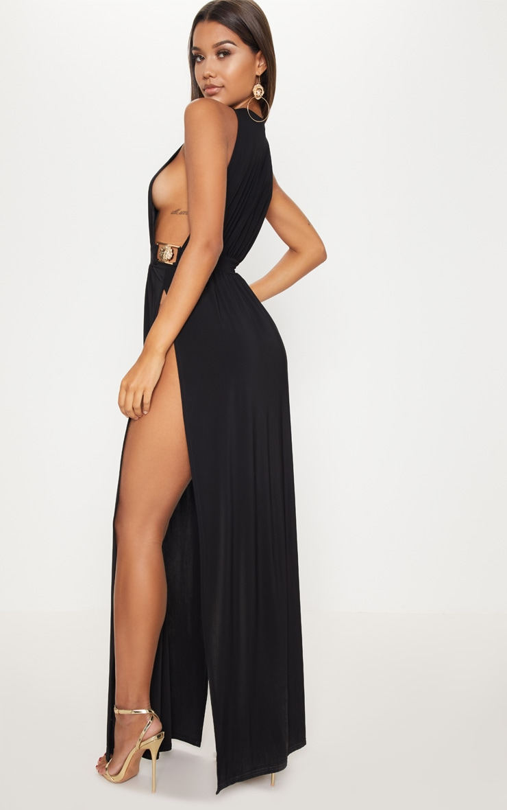 Largest Supplier Discount Official Site PRETTYLITTLETHING Lion Buckle Side Boob Extreme Split Leg Maxi Dress nlEMhSwG