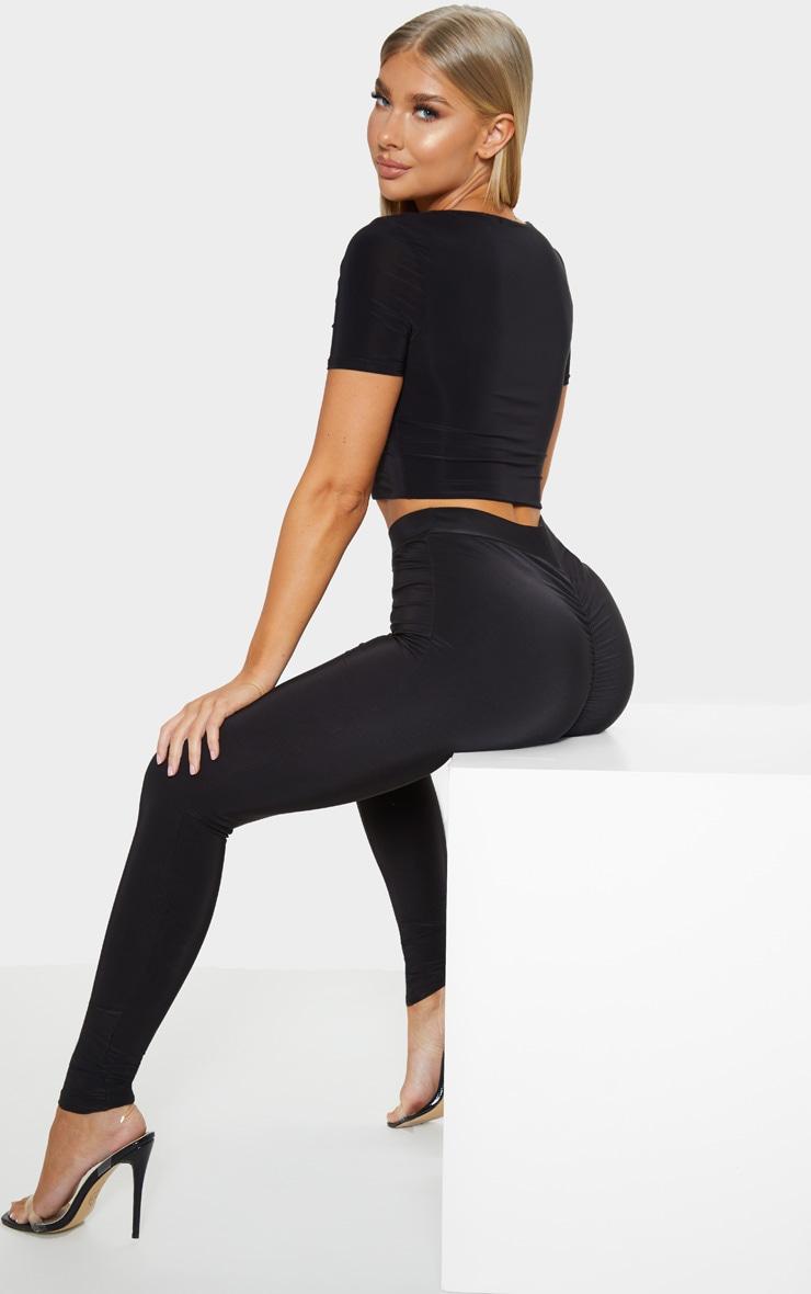 New Ladies Women Slinky Ruched Bum Detail Leggings