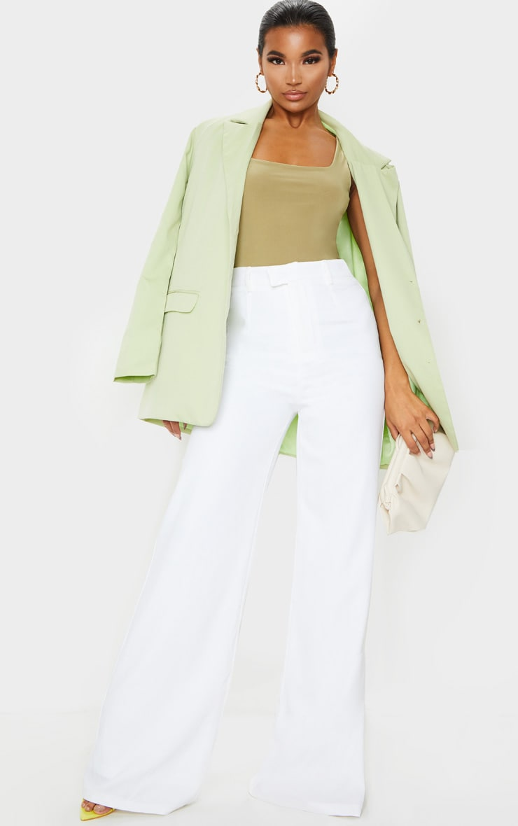 Reemah Cream Wide Leg Crepe Trousers 1