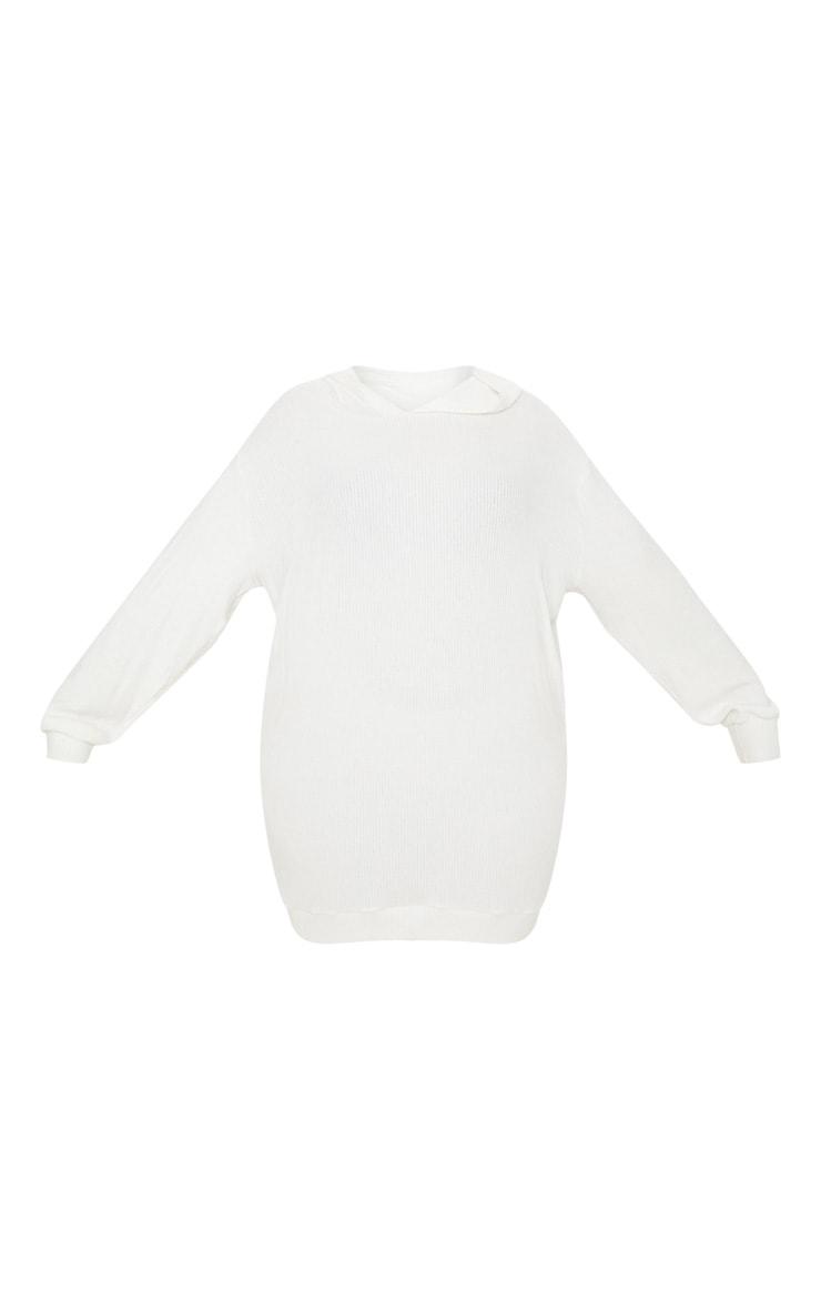 Plus Cream Brushed Rib Hooded Dress 3