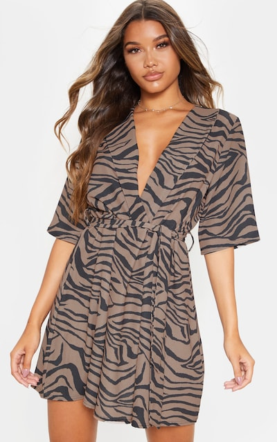 Beige Tiger Print Short Sleeve Tie Waist Tea Dress