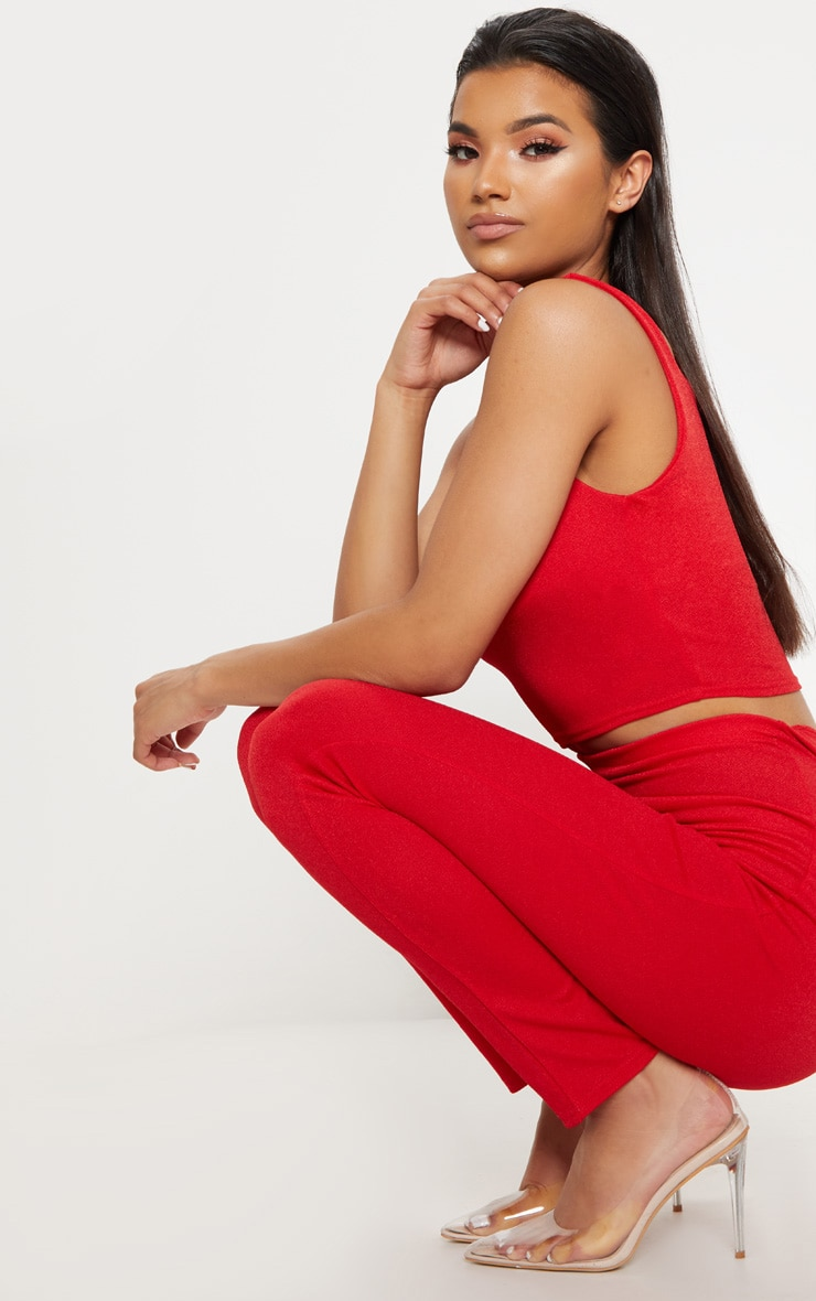 Red Stretch Crepe Square Neck Crop Top 4