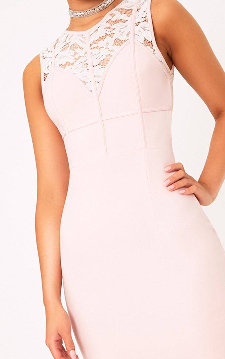 Domanique Nude Lace Contrast Midi Dress 5
