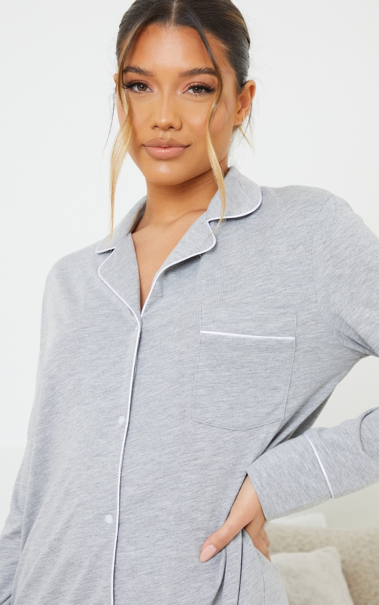 Grey Jersey Button Down Nightshirt 4