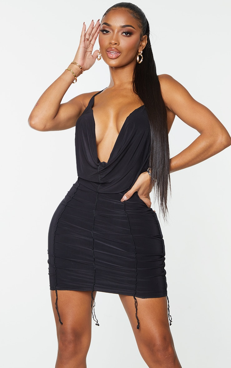 Shape Black Slinky Overlock Cut Out Back Cowl Bodycon Dress 1