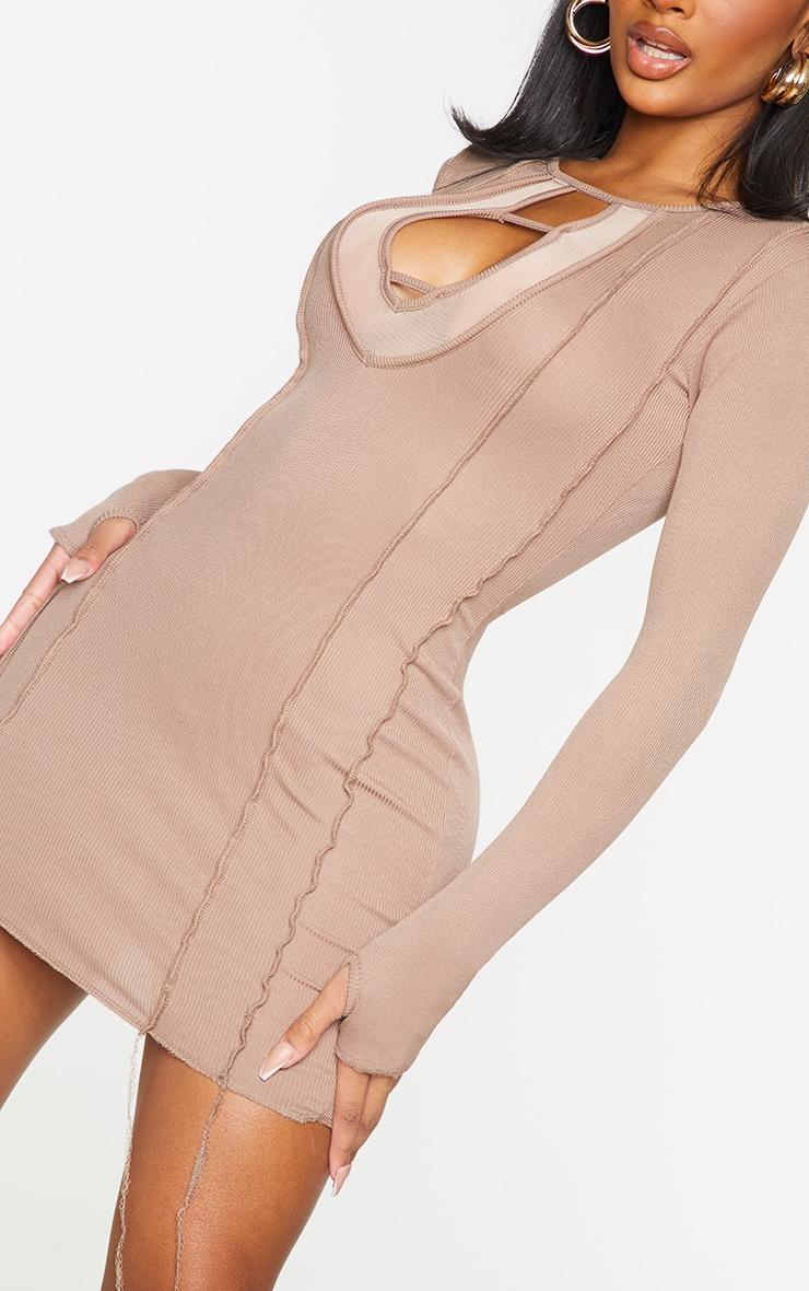 Shape Brown Rib Mesh Panel Seam Detail Bodycon Dress 4