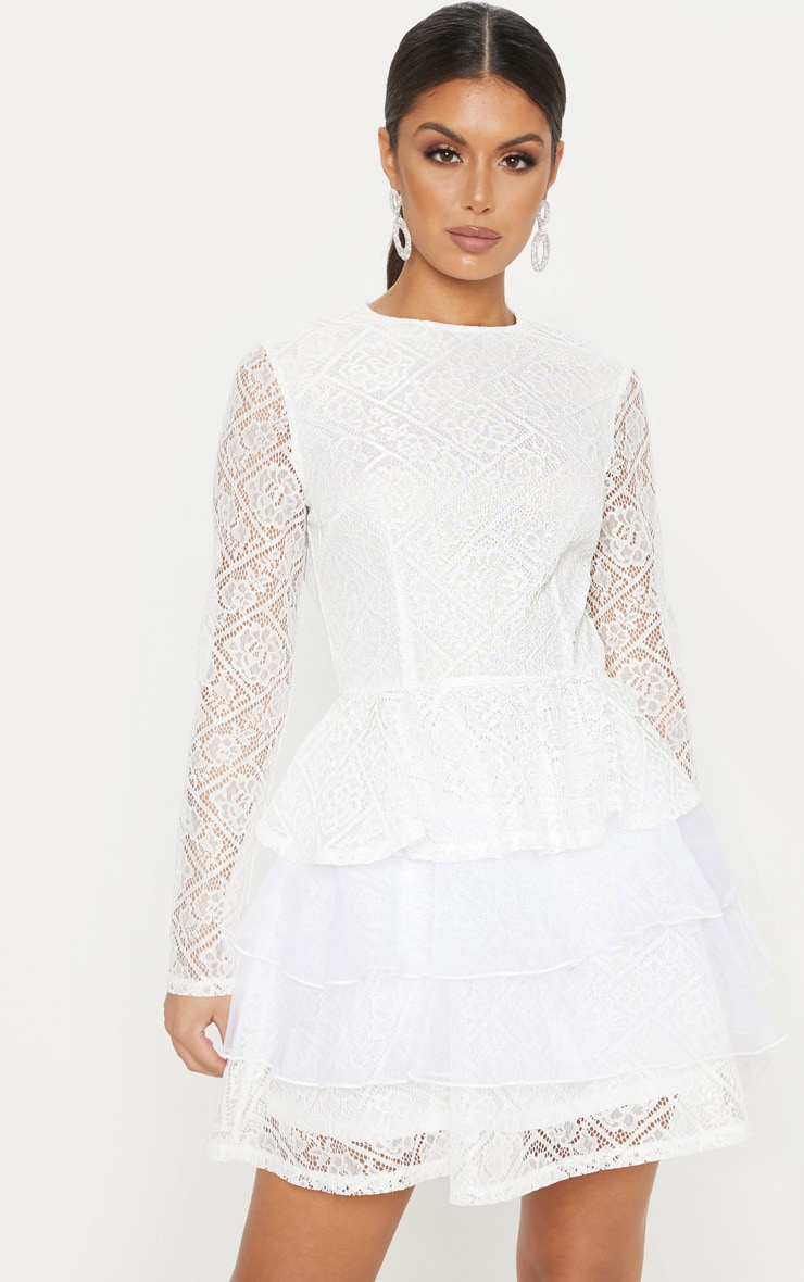 White Lace Long Sleeve Tiered Skater Dress 1
