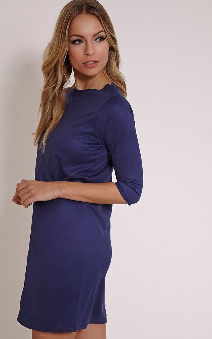 Kasie Navy Faux Suede Stitch Detail Shift Dress 4