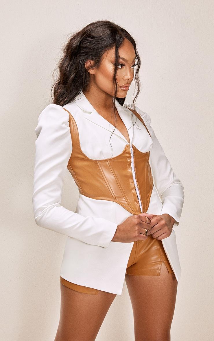 White PU Contrast Corset Woven Blazer 4