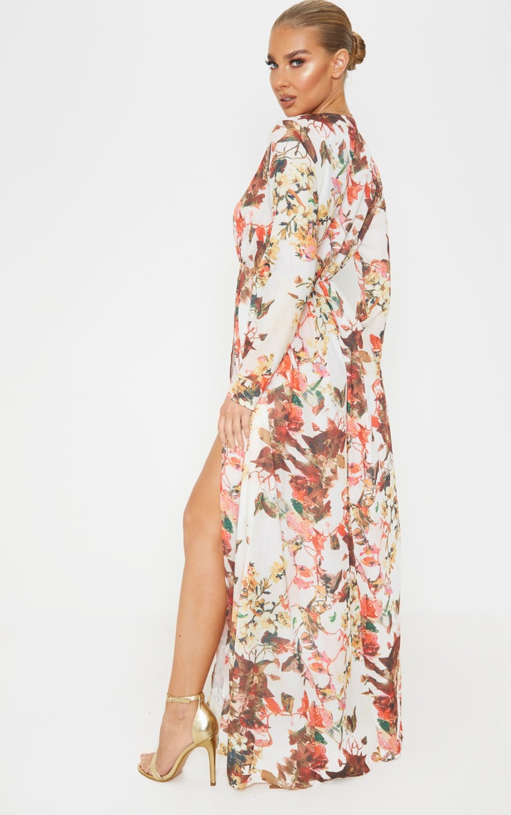 Floral Print Plunge Long Sleeve Maxi Dress 2