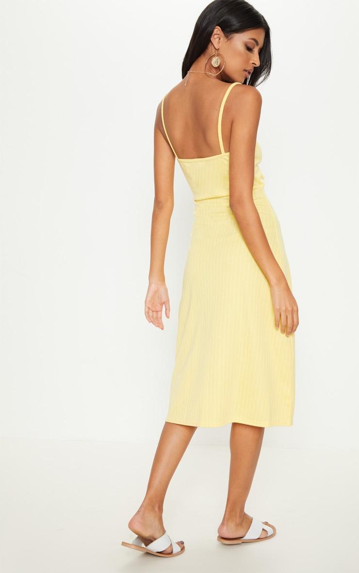 Lemon Pinstripe Tie Front Extreme Split Midi Dress 2